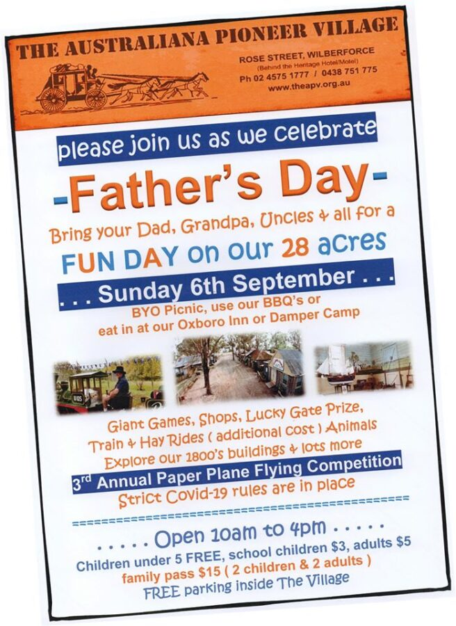 fathers day whats on hawkesbury australiana pioneer village