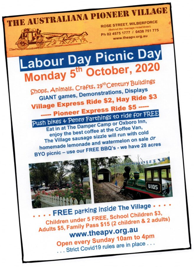 Picnic Day Australiana Pioneer Village wilberforce long weekend hawkesbury
