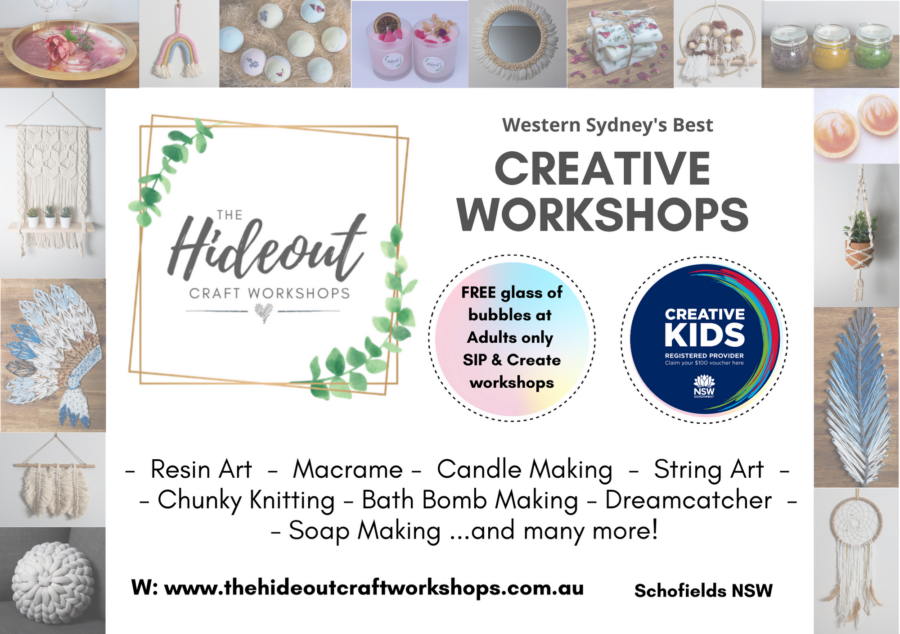 The Hideout Craft Workshops schofields school holidays activities kids western sydney