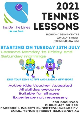 Inside the Lines Tennis Lessons Richmond kids classes lessons hawkesbury