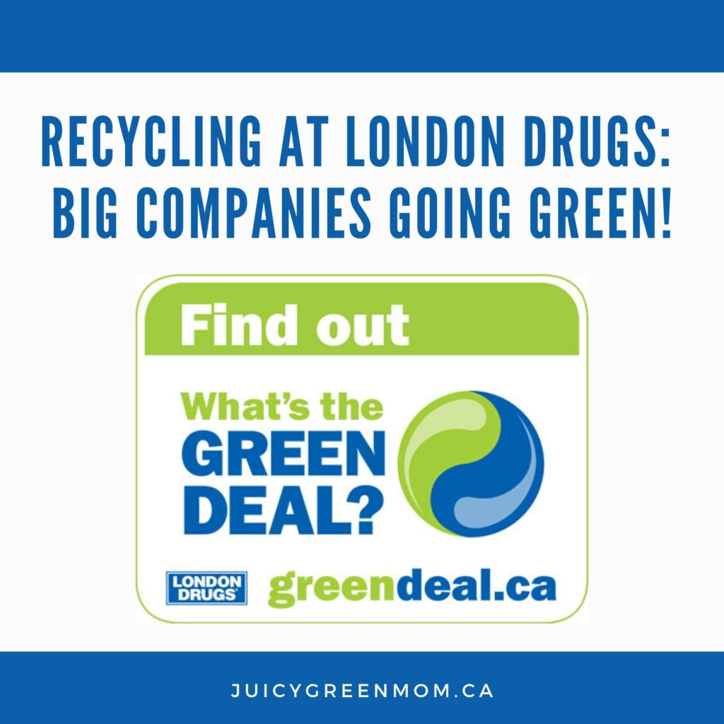 Recycling at London Drugs big companies going green juicygreenmom