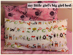 organic cotton and wool pillows for my little girl's big girl bed