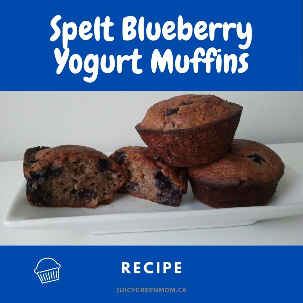 Spelt Blueberry Yogurt Muffins recipe juicygreenmom