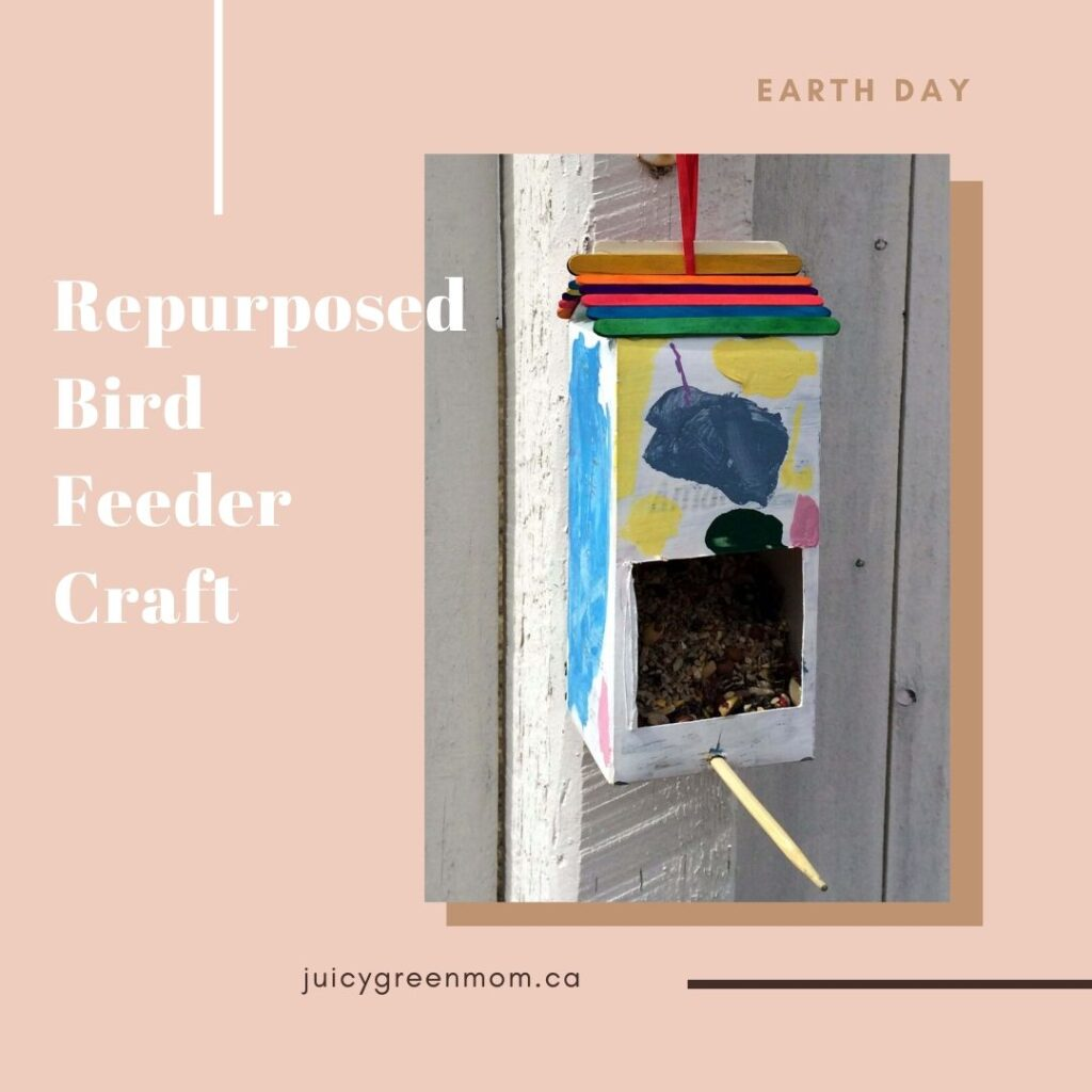 earth day repurposed bird feeder craft juicygreenmom