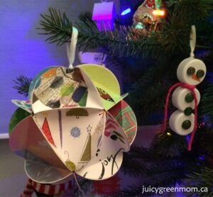 upcycled Christmas ball from old cards
