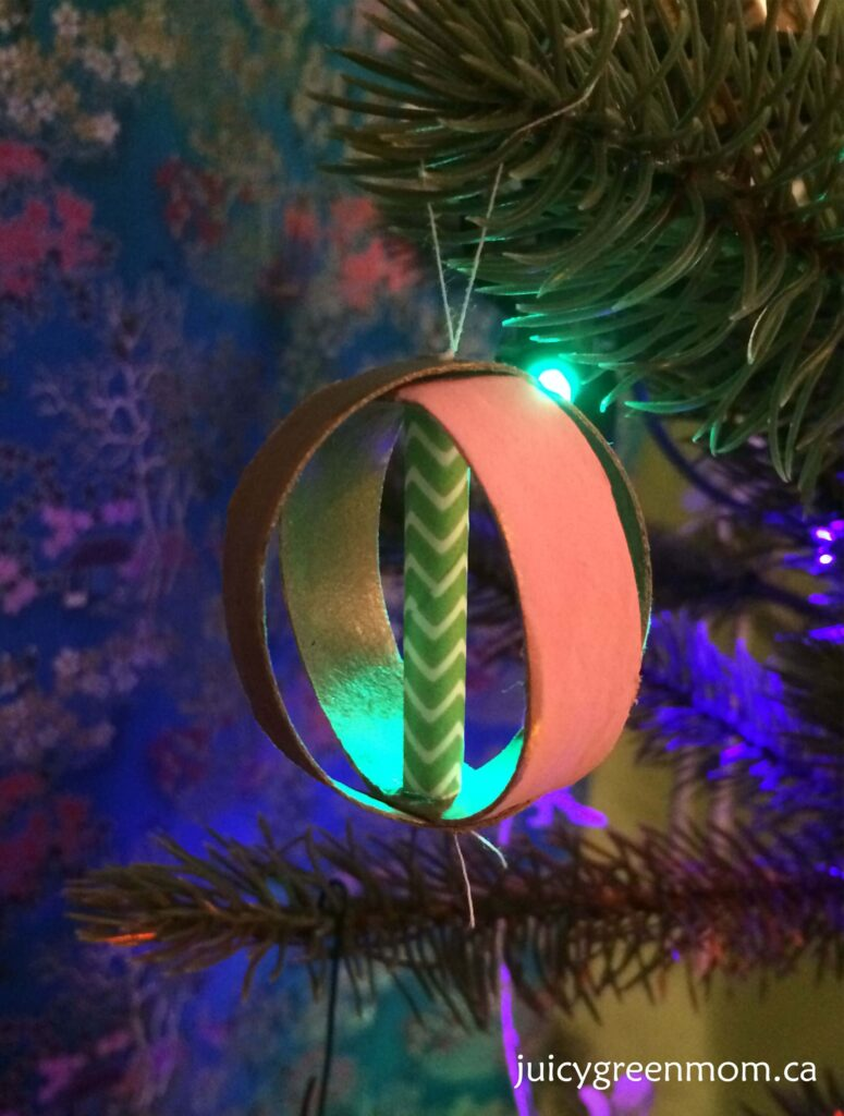 Christmas ball ornament from toilet paper rolls