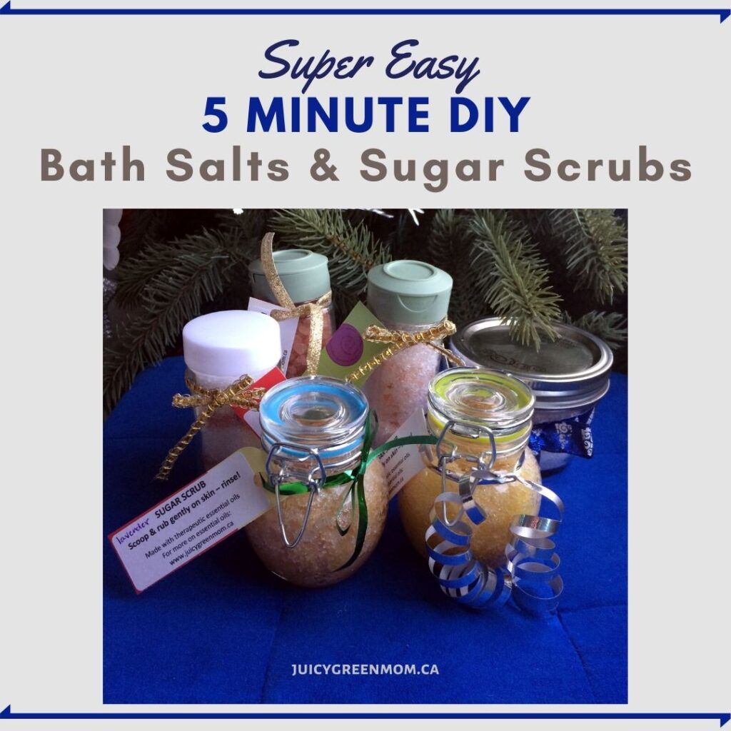 Super Easy 5 minute DIY bath salts and sugar scrubs juicygreenmom