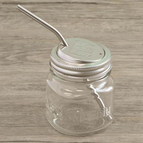 ecojarz stainless steel lid with stainless steel straw on 8oz square mason jar