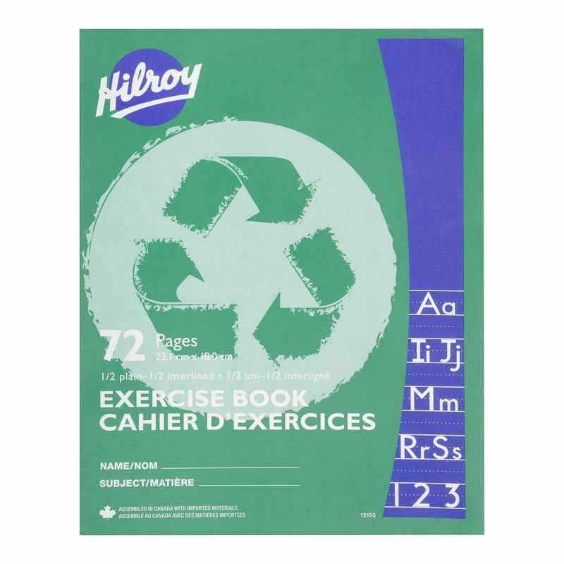 hilroy half lined recycled exercise book