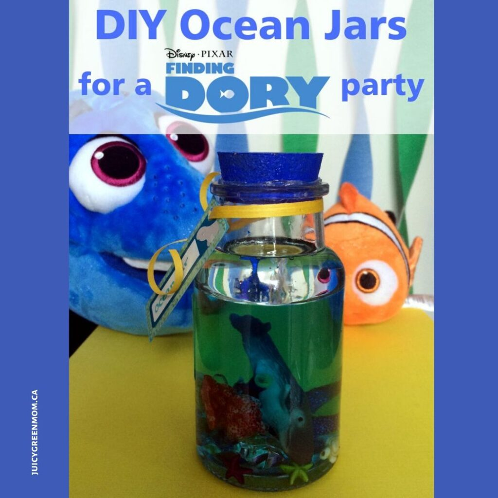 DIY ocean jars for a finding dory party juicygreenmom