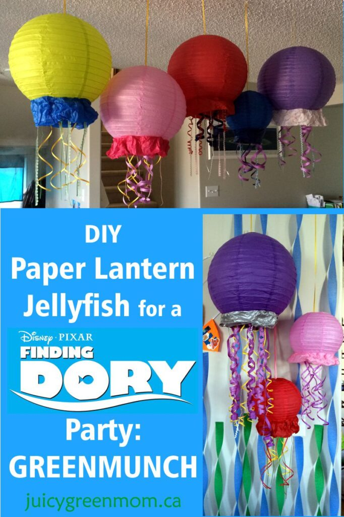 DIY paper lantern jellyfish for Finding Dory party Greenmunch juicygreenmom