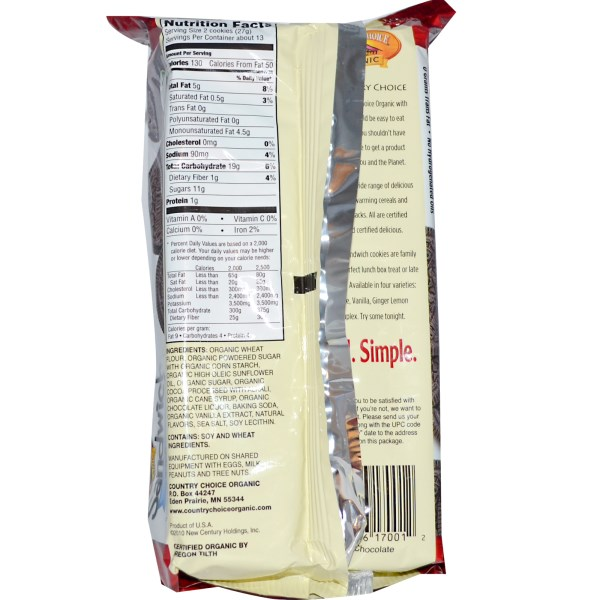 country choice chocolate sandwich cookies nutrition facts