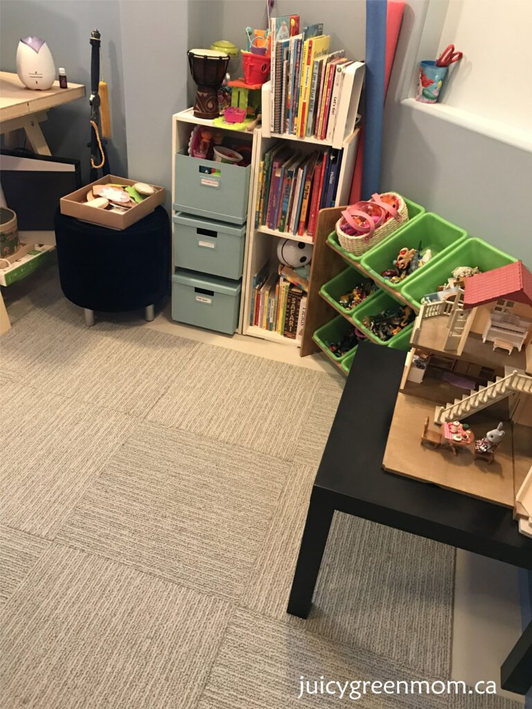 FLOR carpet tiles basement toyroom juicygreenmom