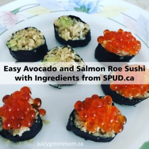 easy avocado and salmon roe sushi with ingredients from spud ca juicygreenmom