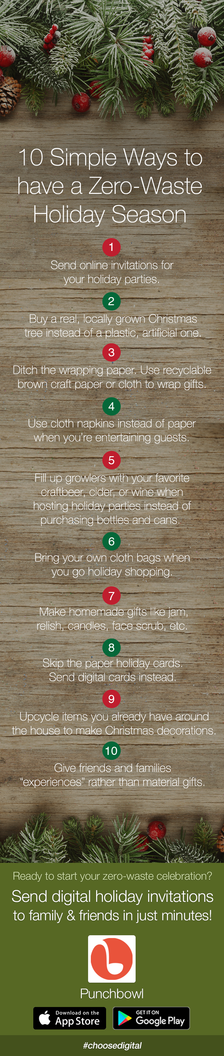 simple ways to have a zero waste holiday season infographic punchbowl