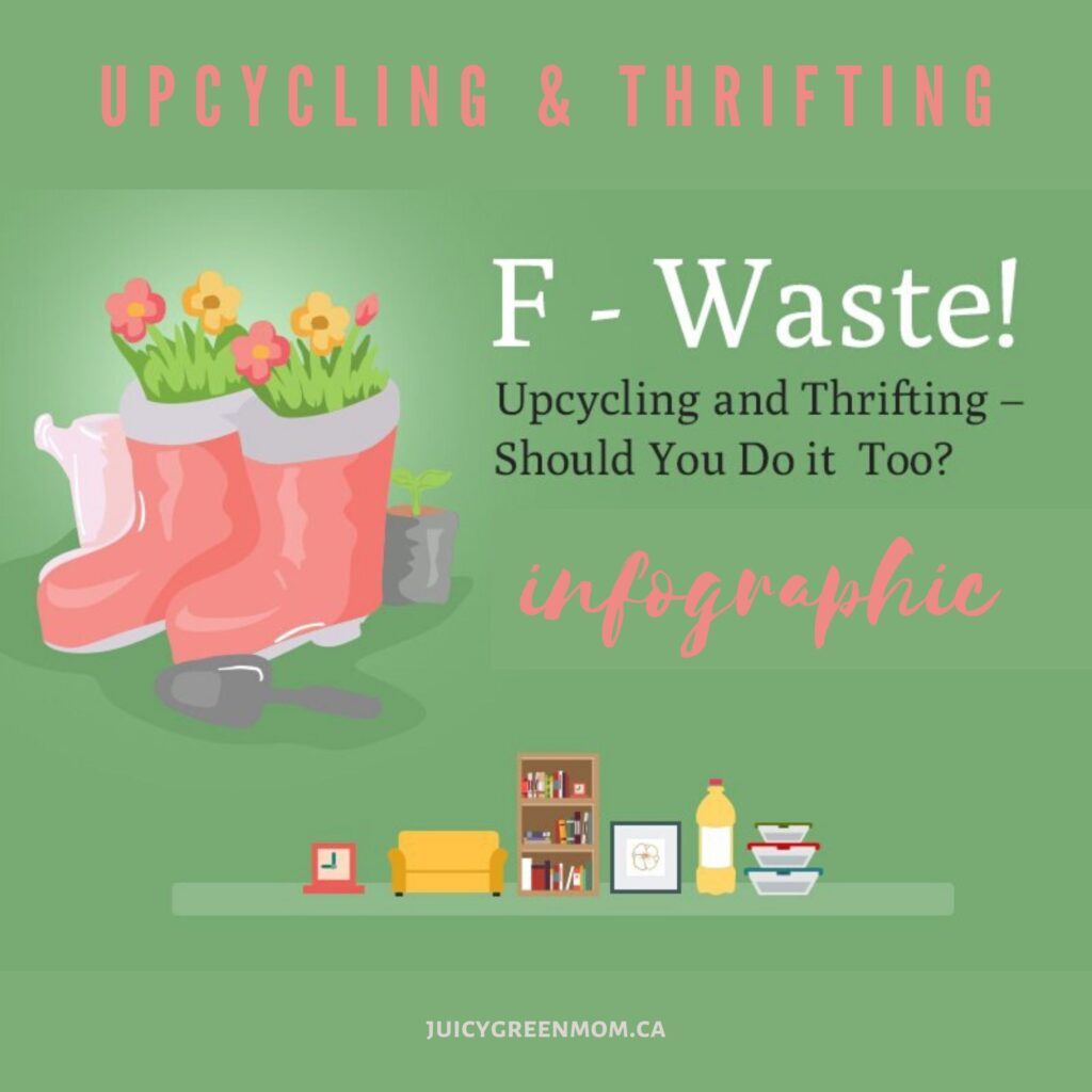 upcycling & Thrifting infographic juicygreenmom