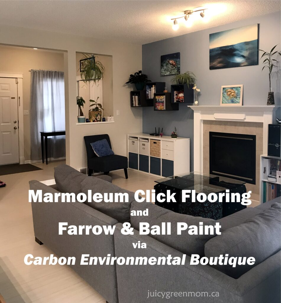 Marmoleum Click Flooring and Farrow & Ball Paint via Carbon Environmental Boutique title image juicygreenmom