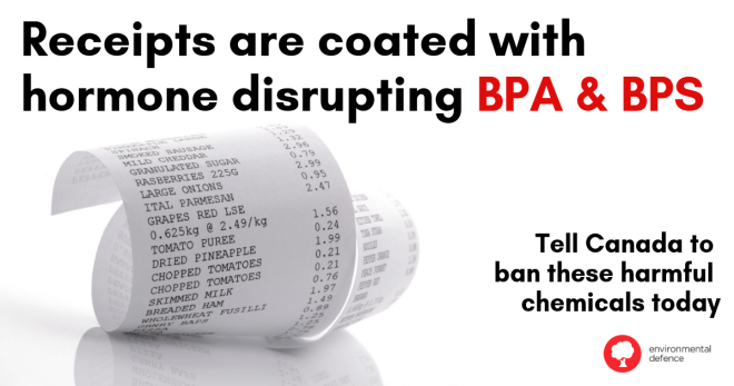 BPA and BPS in receipts environmental defence
