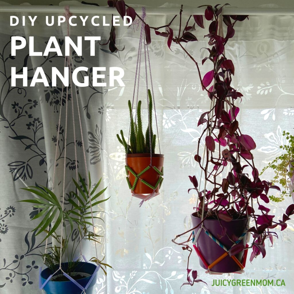 DIY upcycled plant hanger finished juiciygreenmom