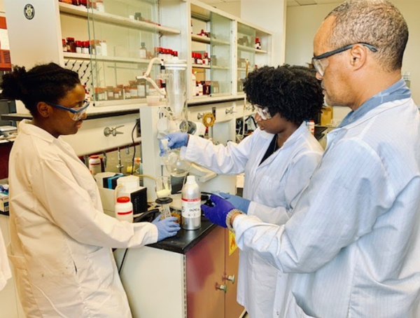 CaRE2 Summer Undergraduate Trainees working in the lab with Dr. Mochona at FAMU