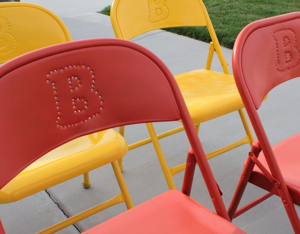 Metal folding chairs painted