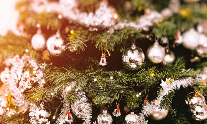 Party rentals decorated green Christmas tree