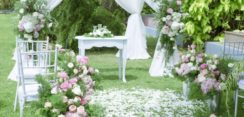 Party rental equipment perfect for a patio wedding