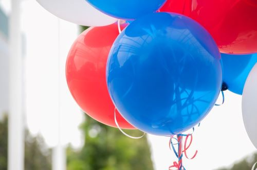 Party balloons in red blue and white