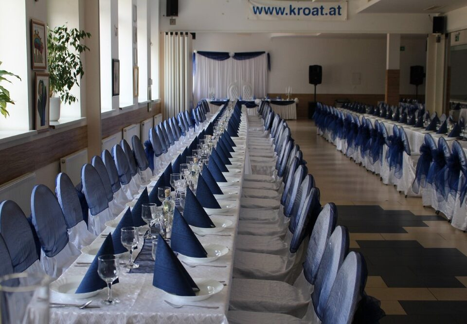 professional event planners organizing hall