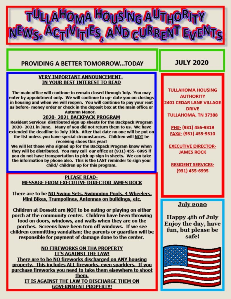 July 2020 Newsletter Pg. 1