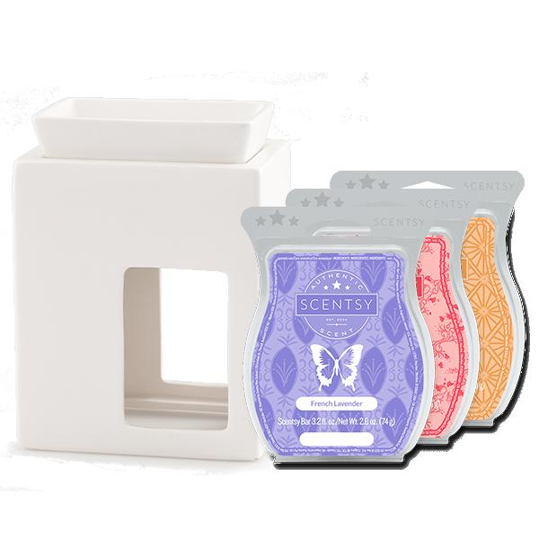 Scentsy White Contempo warmer Bundle