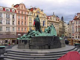 Jan Hus monument in the center of the Old Town Square