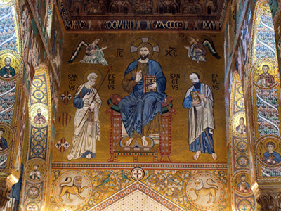 Italy Sicily Palermo art mosaic