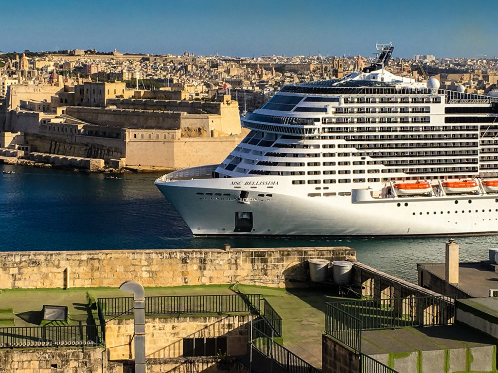 cruise ship in Great Harbor of Malta