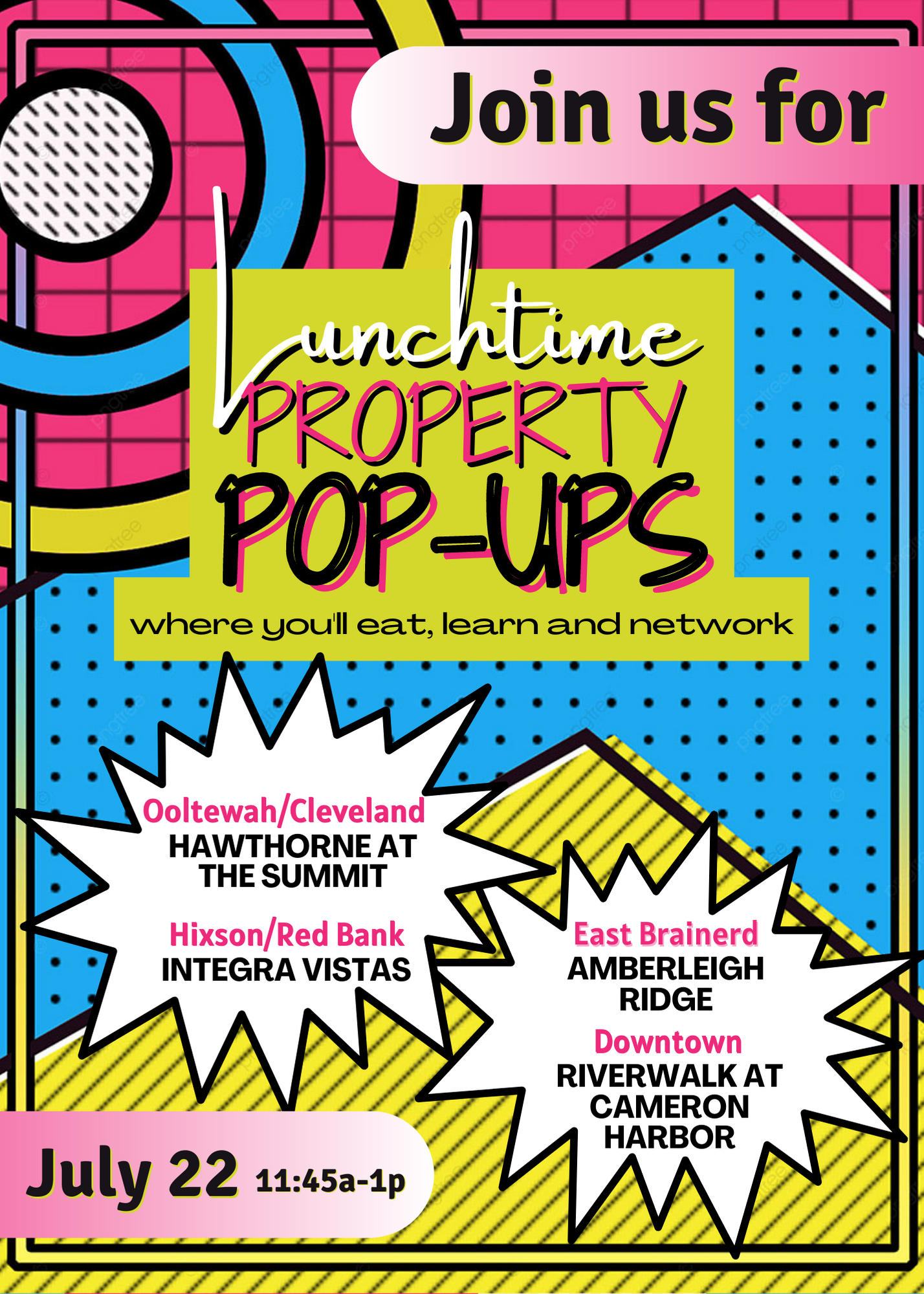 Lunchtime Property Pop-Ups @ Various locations (listed below)
