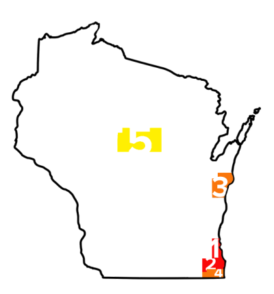 Wisconsin Counties with Highest Lead Percentage