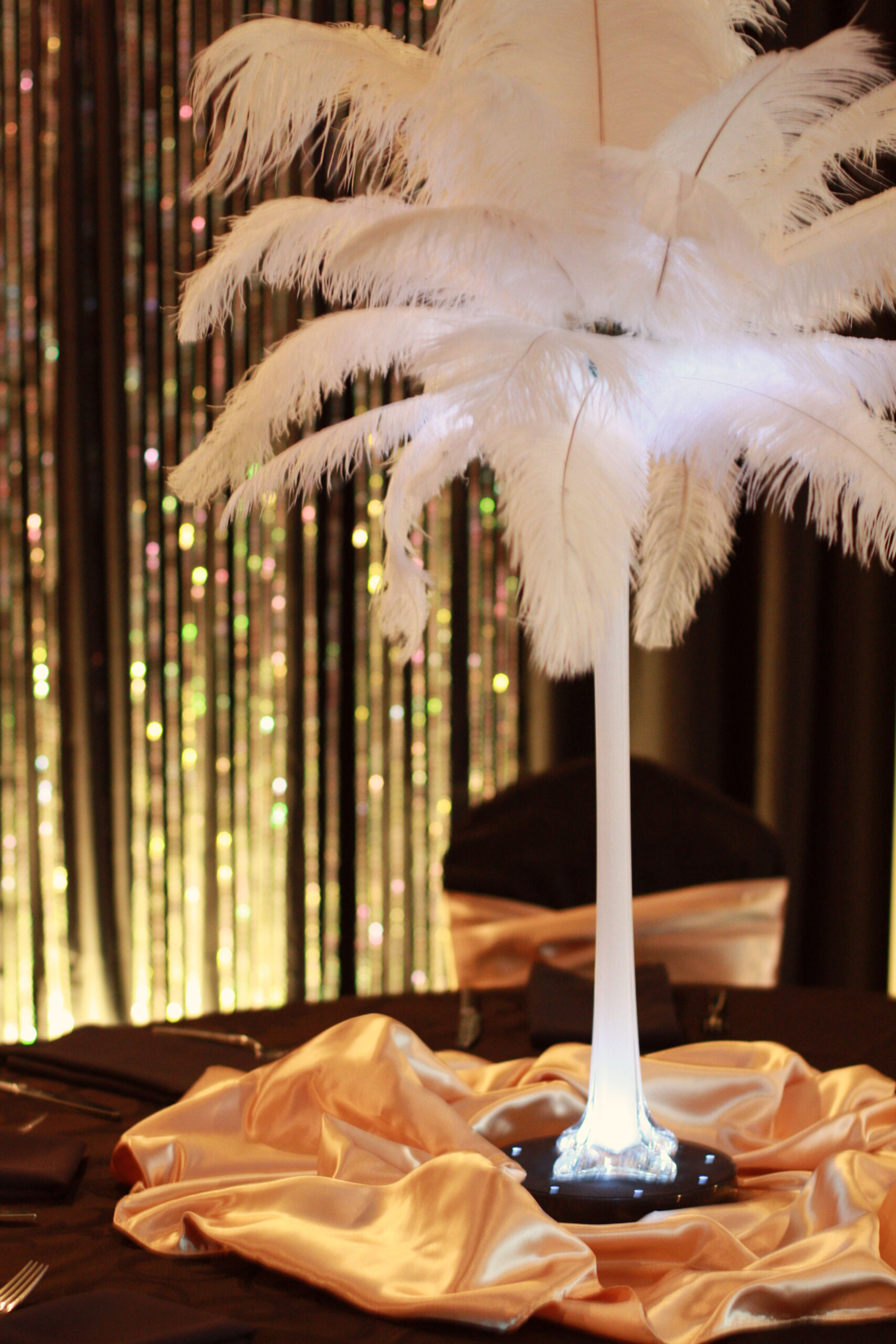 OOOstrich feather centerpiece