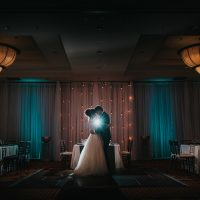 Copper and Cement Backdrop by Designer Weddings