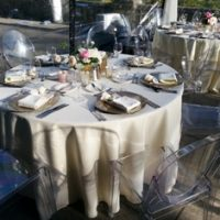 ivory polyester tablecloth at Hatley Castle Royal Roads by Designer Weddings