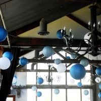 blue, silver and white chinese lanterns