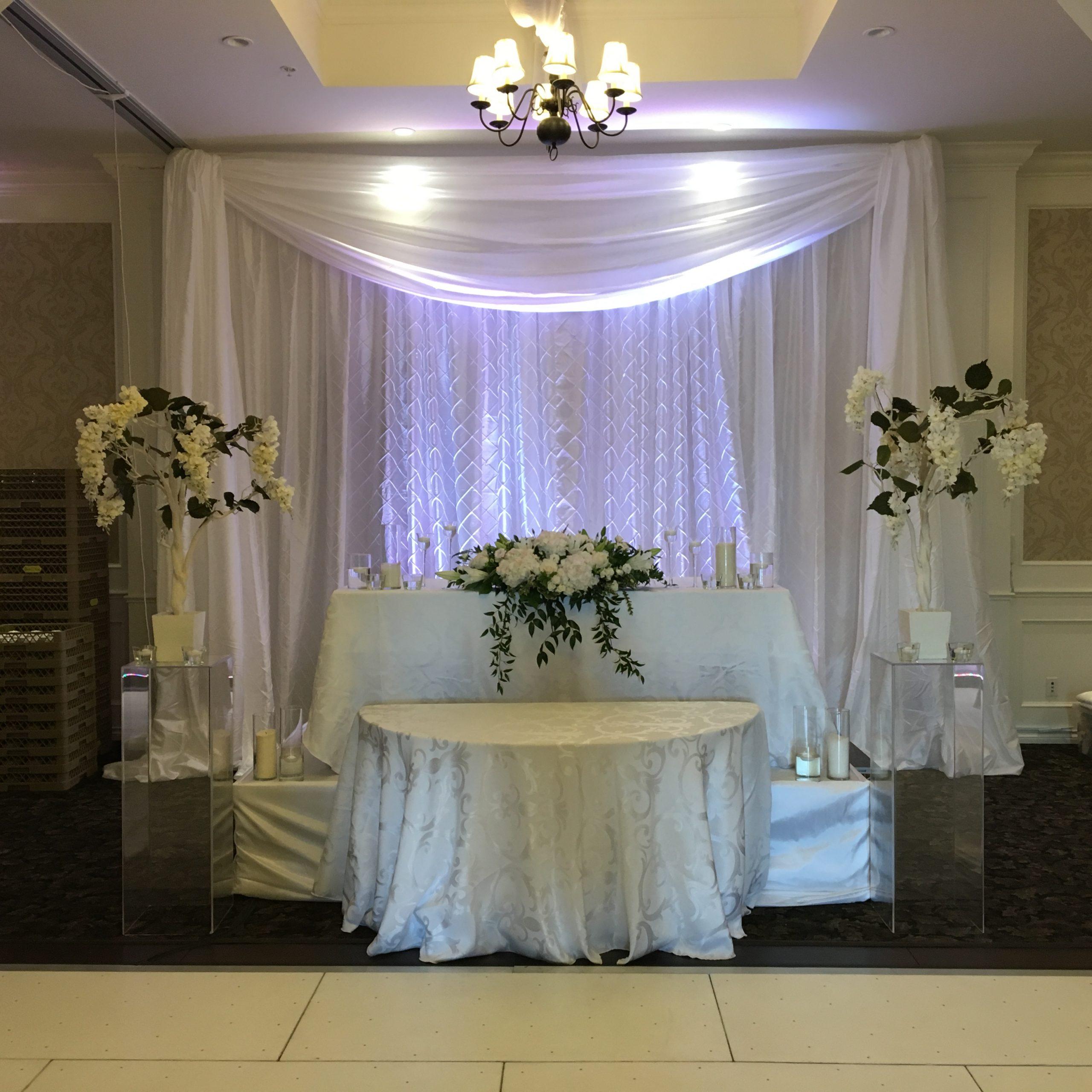 pintuck backdrop by Designer Weddings
