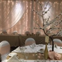 fabric backdrop with twinkle lights by Designer Weddings Victoria BC