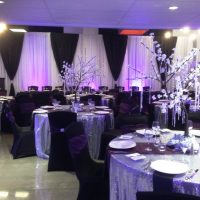 Black & white fabric backdrop with purple uplights by Designer Weddings