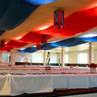 blue & red polyester ceiling panels