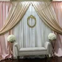 Blush and gold backdrop by Designer Weddings