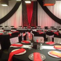 black & white fabric backdrop by Designer Weddings in Victoria BC
