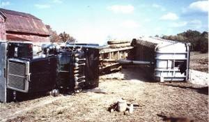 gravel truck-flipped-over