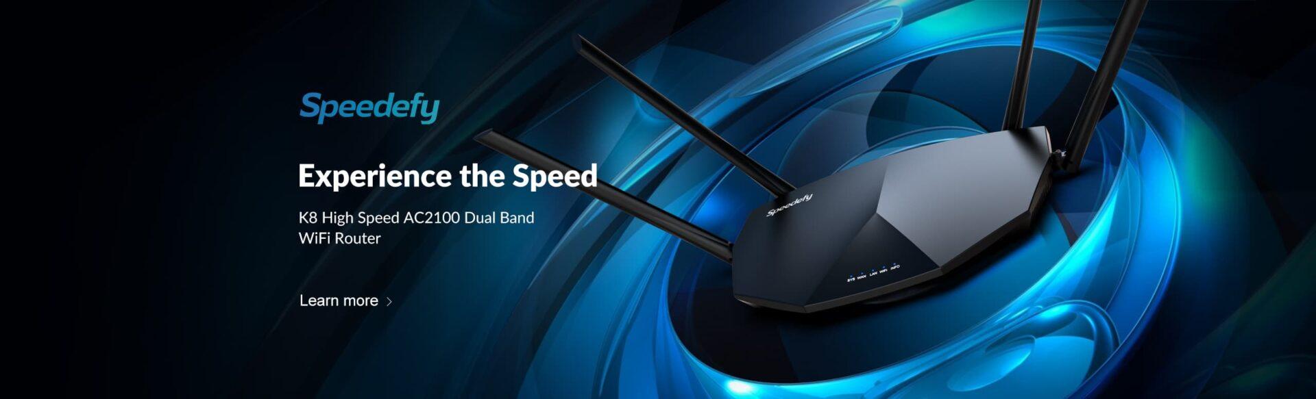 speedefy k8 high speed wifi router headline banner