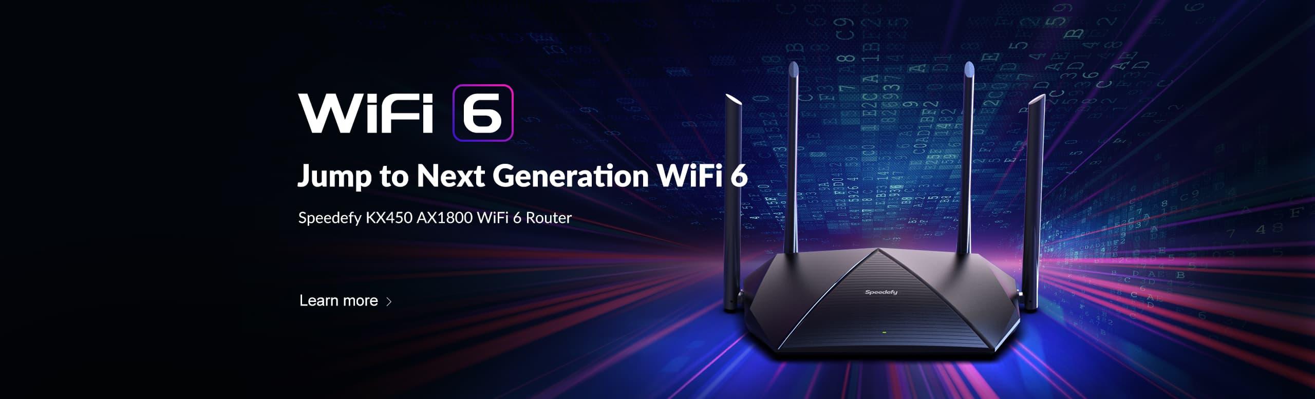 speedefy kx450 wifi 6 router headline banner