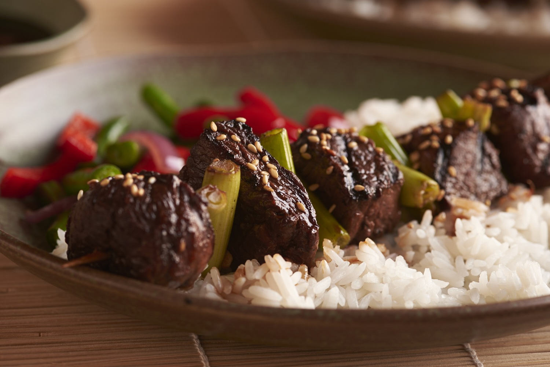asian marinated bison kebabs